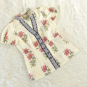 Edme & Esyllte Cream Floral Cotton Top